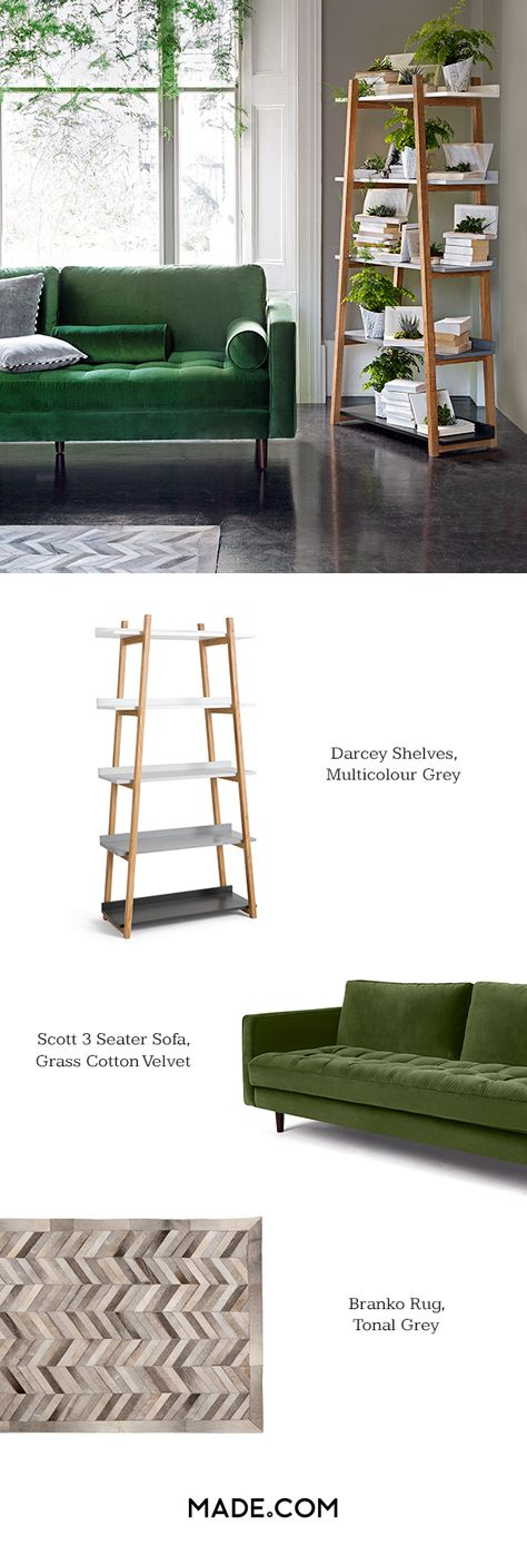 Love this look? Recreate it at home in three simple steps. 1. The Darcey Shelves - Generous storage with a solid oak frame and shelves in ombre tones of grey. 2. The Scott 3 Seater Sofa - Blends a sleek mid-century silhouette with a velvet buttoned seat cushion for a statement look. 3. The Branko Cowhide Rug - Its chevron chic is inspired by parquet floors.