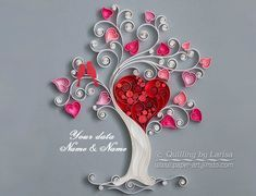 Quilling wall art Quilling art Love tree Quilling paper | Etsy