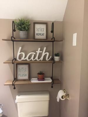 Quick And Easy Small Bathroom Decorating Tips Diy Room Ideas In 2020 Restroom Decor Bathroom Decor Bathroom Shelf Decor