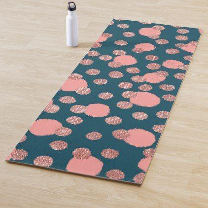 Girly Artsy Rose Gold Pink Polka Dots Yoga Mat Yogamats Yoga Pink Polka Dots Rose Gold Pink Pink