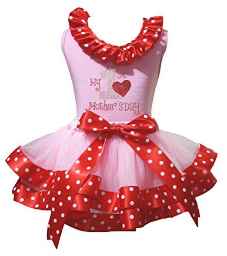 Petitebelle My 1st Birthday White Shirt Pink Dots Ribbon Petal Skirt Set Nb-2y