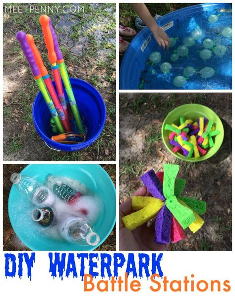 Have an epic water battle! Love her DIY waterpark. Inexpensive way to keep the kids cool with a PVC kid wash and homemade water slide!