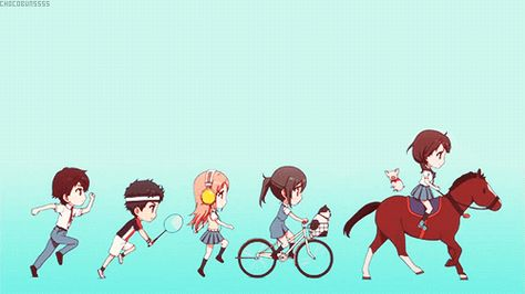 Sawa Konatsu Wakana Taichi Wein Cute Chibi Running Bicycle Horse Pig Cat Headphones Listening Music Racquet Gif Tari