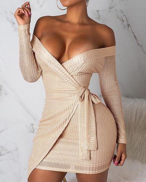Off Shoulder Surplice Wrap Bodycon Dress  25.20$ https://madam.store/product/off-shoulder-surplice-wrap-bodycon-dress/