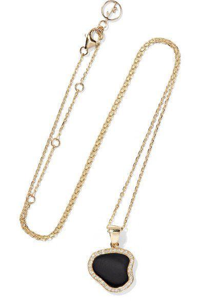 Belle De Nuit 14-karat Gold, Onyx And Diamond Necklace - one size Anissa Kermiche