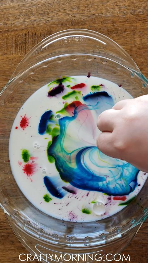 Magic Milk Science Experiment- easy kids science experiment to try at home! Color changing activity art craft.