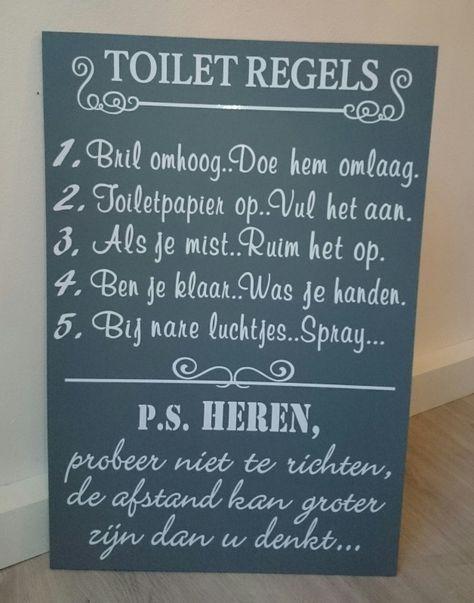 Tekstbord: Toilet regels