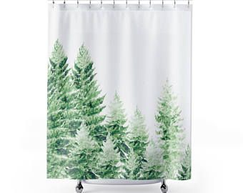 Pine Tree Shower Curtain Forest Shower Curtain Pine Tree Curtain