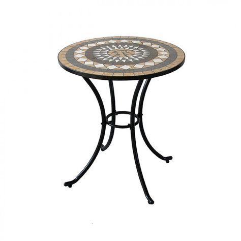 Tavolo Da Giardino Tondo Ferro.Tavolino Da Giardino Rotondo In Ferro Con Piano In Ceramica A