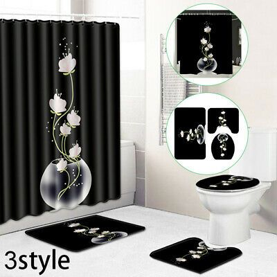 Advertisement Shower Curtain Room Carpets Antislip Pedestal Hotel Bath Rug Lid Toilet Cover Bathroom Shower Curtains Room Carpet Shower Curtain Sets