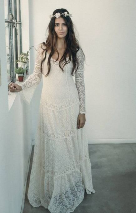 Bohemian Style Long Sleeve Boho Wedding Dresses