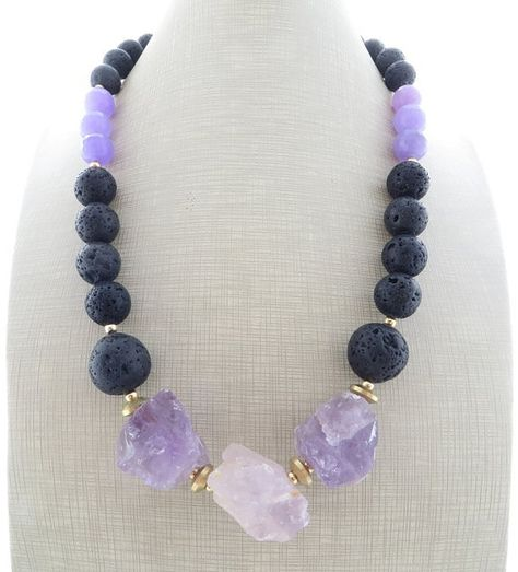 Fae-Inspired Purple Gemstone Bead Necklace \u2013 Phosphosiderite and Amethyst Choker \u2013 Short Necklace