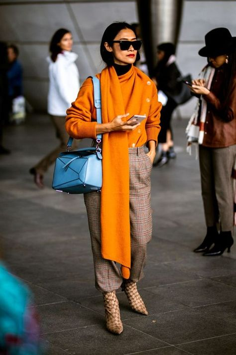 Colorful fall outfits with their color palette inspirations
