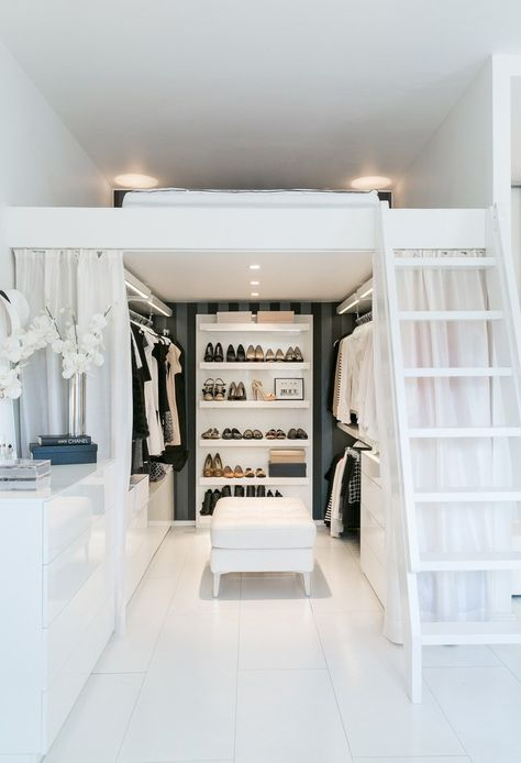 Small Space Organization: This Little Finnish Apartment Has a Really Clever Closet Solution Small Apartments, Small Spaces, Loft Spaces, Clever Closet, No Closet Solutions, Small Space Solutions, Awesome Bedrooms, Cool Bedroom Ideas, Bedroom Ideas For Small Rooms