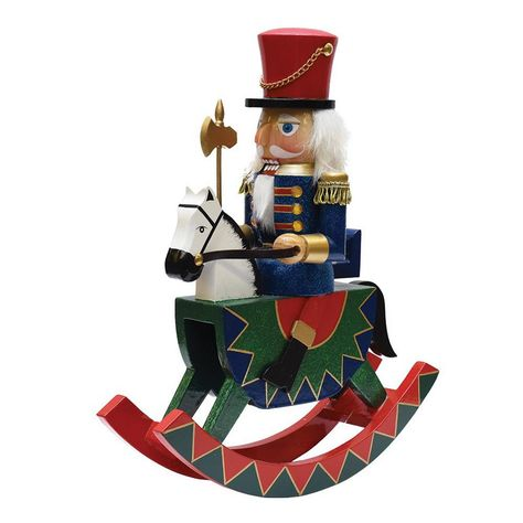 Northlight 12 in. Decorative Wooden Green Red and Blue Christmas Nutcracker Soldier on Rocking Horse