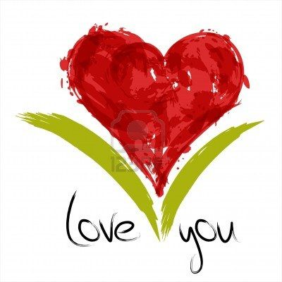 Red painted heart with inscription: love you. Stock Photo