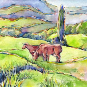 Vaches Peinture Aquarelle Vaches Vertes Collines Montagnes Etsy Cow Painting Painting Watercolor Paintings