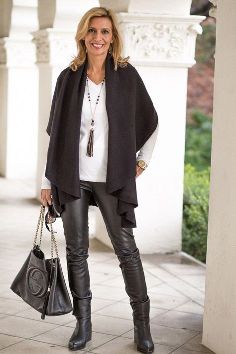 Cape Vests | For more style inspiration visit 40plusstyle.com #womensfashioncasualover50cardigans