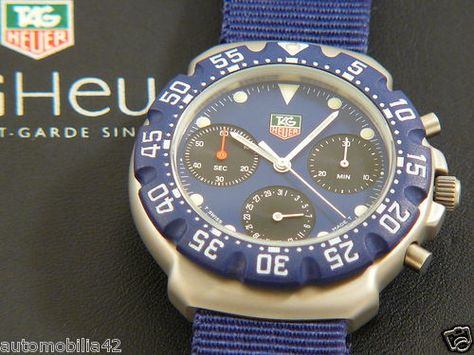N.O.S. TAG Heuer Formula One F1 Chronograph 1st Gen. Blue dial + strap 470.513 #TAGHeuer, #TAGHeuerF1