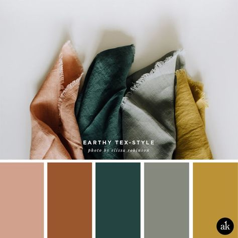 an earthy-textile-inspired color palette — Creative brands for creative people // Akula Kreative an earthy-textile-inspired color palette // coral clay, terra cotta, spruce green, gray, mustard yellow // photo by elissa robinson Earthy Color Palette, Colour Pallette, Color Combos, Paint Combinations, Gray Bedroom Color Schemes, Home Color Schemes, Green Colour Palette, Color Schemes With Gray, Interior Colour Schemes