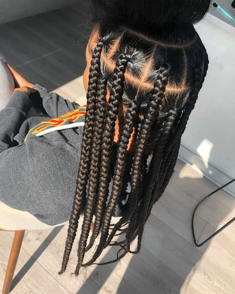Box Braids Hairstyles For Black Women, Cute Braided Hairstyles, Black Girl Braids, African Braids Hairstyles, Braids For Black Hair, Black Hair Braid Hairstyles, African Box Braids, Natural Cornrow Hairstyles, 4 Braids Hairstyle