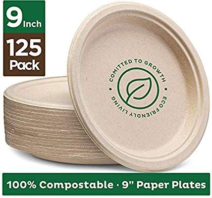 125 Pack Brown Unbleached 100/% Compostable 9 Inch Heavy-Duty Plates Eco-Friendly Disposable Sugarcane Paper Plates
