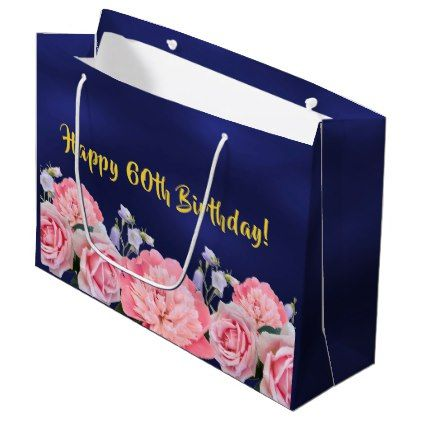 60th Birthday Gift Bag Dark Blue With Pink Flowers