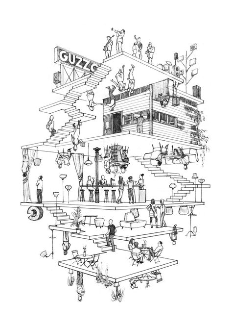 Image 13 of 27 gallery in Abyss architectural artwork Cinta Vidal. Guzgo mural in Barcelona in process. Image Courtesy of Cinta Vidal Collage Architecture, Architecture Concept Drawings, Architecture Portfolio, Architecture Design, Architecture Illustrations, Art Isométrique, Isometric Art, Architectural Section, Concept Diagram