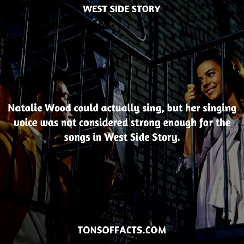 Natalie Wood could actually sing, but her singing voice was not considered strong enough for the songs in West Side Story. #westsidestory #movies #interesting #facts #fact #trivia #awesome #amazing #1 #memes #moviefacts #movietrivia #westsidestoryfacts #westsidestorytrivia
