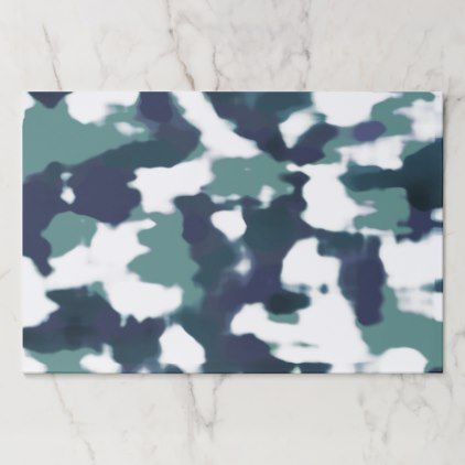 Abstract Camouflage Blue Amp White Paper Placemat Placemats Abstract Blue Camouflage