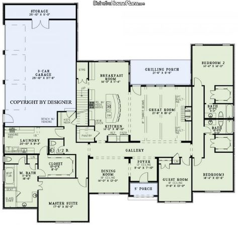 House Plan #0261061 - Valencia - Love each bedroom has its own bath and a walk in closet. Guest room becomes an office. Don't need the stairs so the kitchen would be a little bigger.