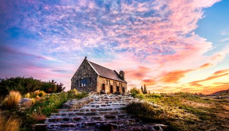 This is the last photo I got from New Zealand before jumping on a 10 hour flight to Antarctica. It was a most excellent omen of a sunset... #TreyRatcliff #church #sunset #newzealand #tekapo