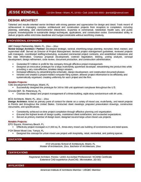Design Architect Resume Template - http\/\/jobresumesample\/620 - architecture resume sample