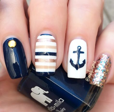 navy + gold nautical nails stripes + anchor nailart, perfect for summer
