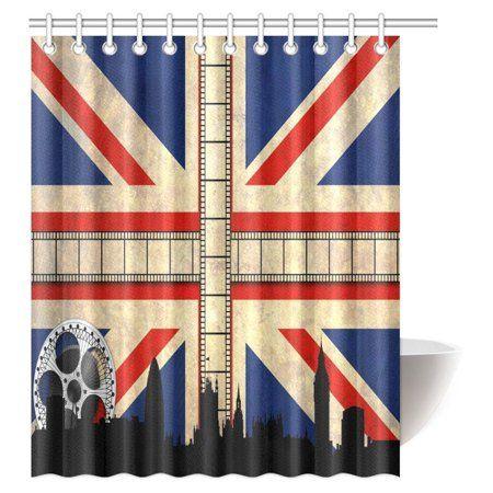 Mypop Union Jack Shower Curtain Grungy Aged Uk Flag Big Ben