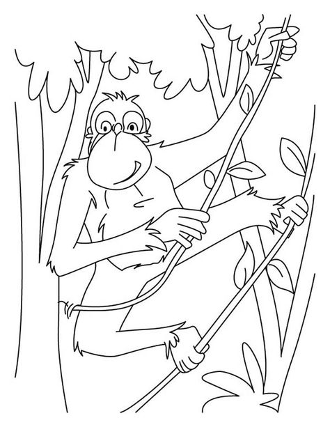 Chimpanzee Swinging Around With Tree Root Coloring Page Coloring
