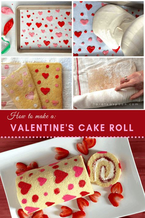 Love is all around, and around with this Valentine's Day Strawberry Cake Roll. Filled with strawberry jam and fluffy, sweet cream cheese, it's the way to everyone's heart. Valentines Baking, Valentine Desserts, Valentine Cake, Köstliche Desserts, Thanksgiving Desserts, Plated Desserts, Strawberry Roll Cake, Strawberry Jam Cake Filling Recipe, Bolo Original