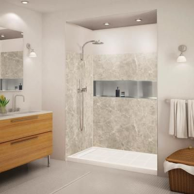 Transolid Expressions 32 In X 60 In X 72 In 3 Piece Easy Up Adhesive Alcove Shower Wall Surround In Do In 2020 Shower Walls Surrounds Shower Wall Shower Wall Kits