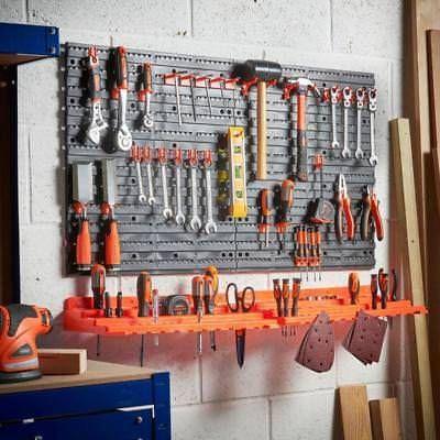 50 Hook Tool Garage Wall Rack Pegboard Storage Shelf Organiser Organizer Shelves Garage Workshop Plastic Pegboard Diy Garage Storage