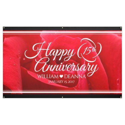 Elegant 15th Rose Wedding Anniversary Banner Zazzle Com Anniversary Banner Rose Wedding Wedding Anniversary