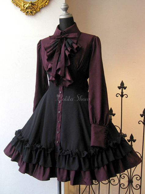 Gothic Lolita OP Dress Black Red Ruffles Lolita One Piece Dresses - Lolitashow. Gothic Lolita Dress, Goth Dress, Gothic Lolita Fashion, Gothic Outfits, Victorian Fashion, Lolita Style, Emo Outfits, Trend Fashion, Cute Fashion