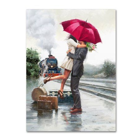 Trademark Fine Art 'Couple on Train Station' Canvas Art by The Macneil Studio, Red