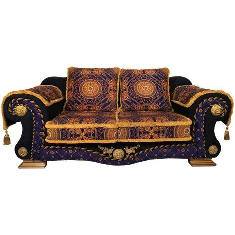 1980 Italian Design Gianni Versace Neo Barocco Velvet Sofa 1 Bohemian Style Interior Design Versace Furniture Vintage Sofa