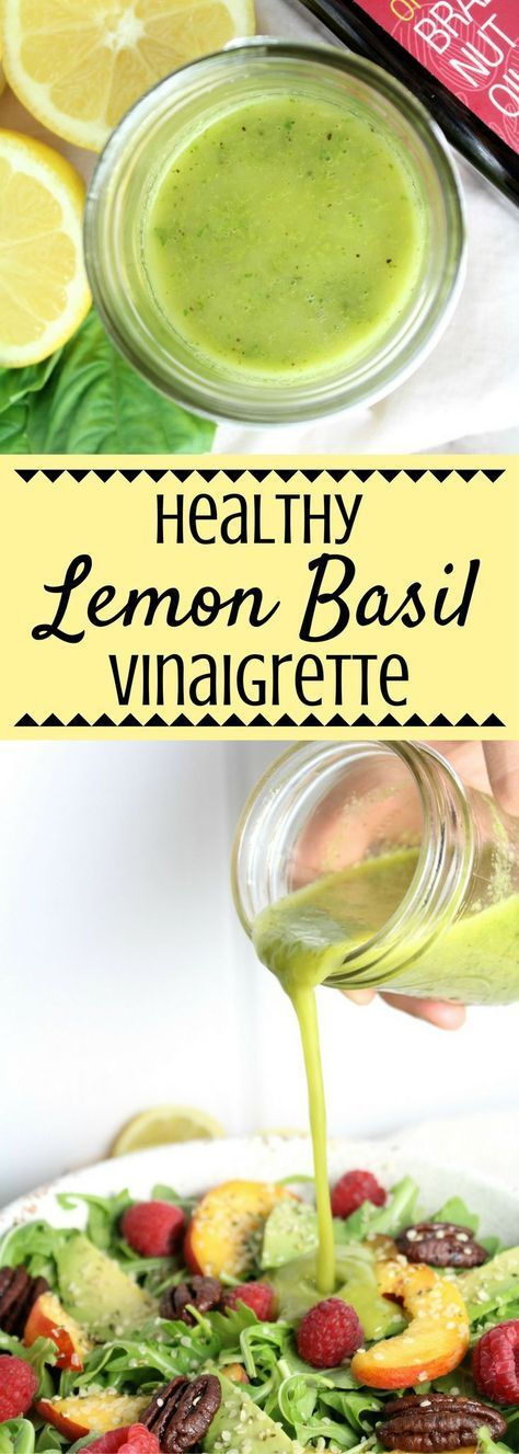Healthy Lemon Basil Vinaigrette Looking for a refreshing salad dressing? This Healthy Lemon Basil Vinaigrette is whole 30 friendly, paleo, gluten free, and absolutely delicious! Salad Dressing Recipes, Salad Recipes, Vegan Recipes, Cooking Recipes, Salad Dressings, Healthy Dressing For Salads, Cooking Tips, Vegan Sauces, Lemon Basil Vinaigrette