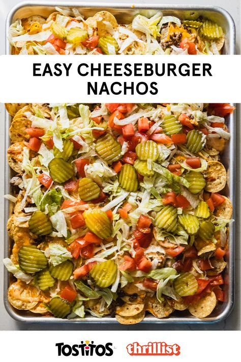 If nachos and a cheeseburger had a baby, this recipe would be it. Featuring #Tostitos Bite Size Rounds and lots of cheese. This recipe was developed by Eddie Sanchez and Thrillist. Think Food, I Love Food, Good Food, Yummy Food, Tasty, Mexican Food Recipes, Beef Recipes, Cooking Recipes, Healthy Recipes