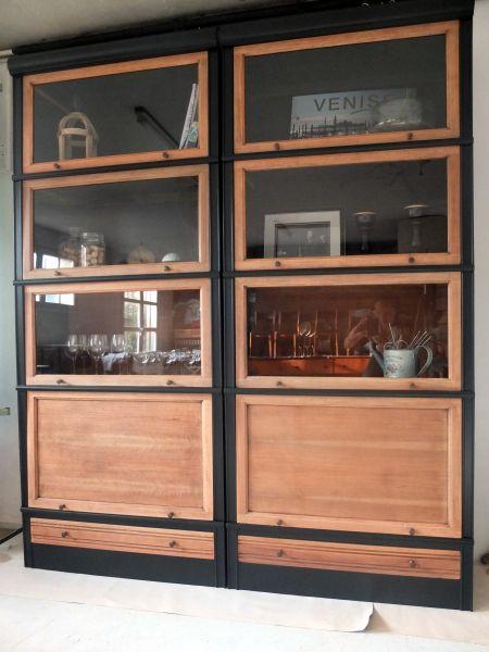 Vaisselier Vitrine Bibliotheque Md Noir Et Bois Double Colonne De Modules Md Relooke Mobilier De Salon Relooker Meuble Relooker