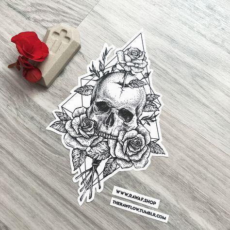 Dotwork cracked skull roses tattoo design, download the full size PDF: www.rawaf.shop/tattoo