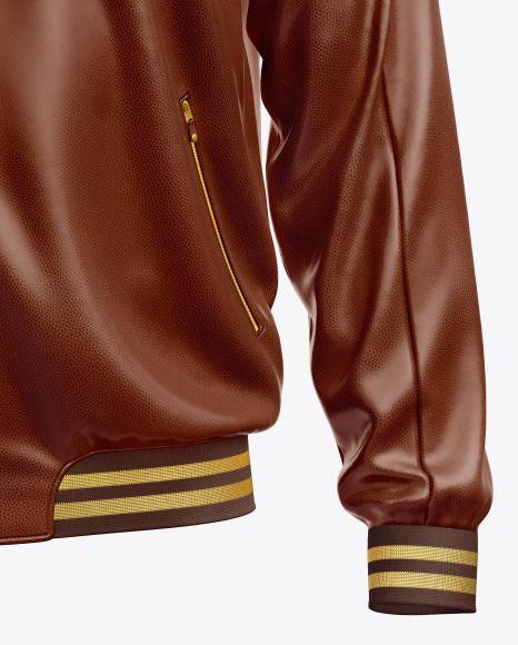 Download Men S Leather Bomber Jacket Mockup In Apparel Mockups On Yellow Images Object Mockups Mens Leather Bomber Jacket Leather Bomber Leather Varsity Jackets