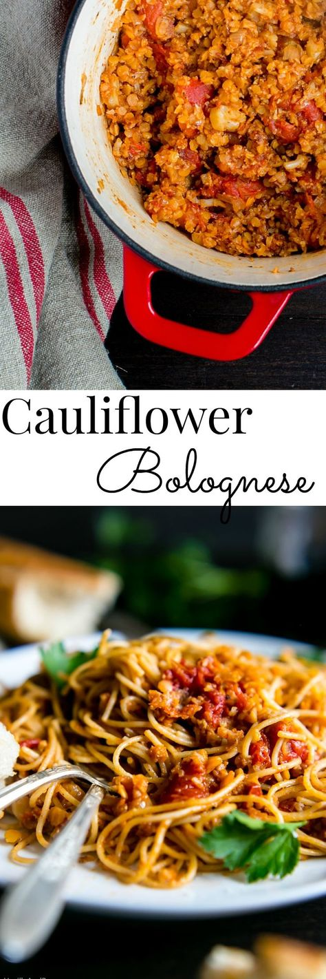 Easy and so hearty!! Cauliflower Bolognese. Vegetarian | Gluten Free Option