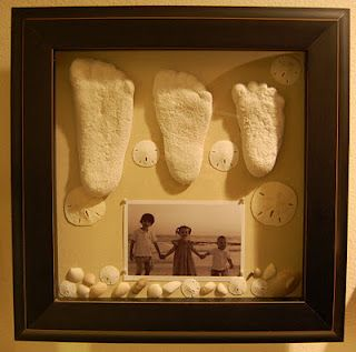 Sandy feet made with plaster of Paris, seashells, sand dollars, and a picture make a perfect keepsake of an incredible family vacation